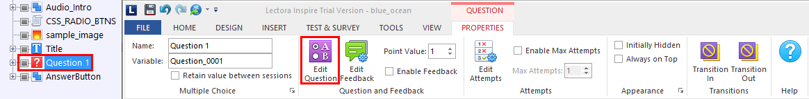 FasterCourse Oceanside Template Edit question menu