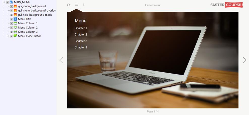 FasterCourse Start Up Template Main Menu page