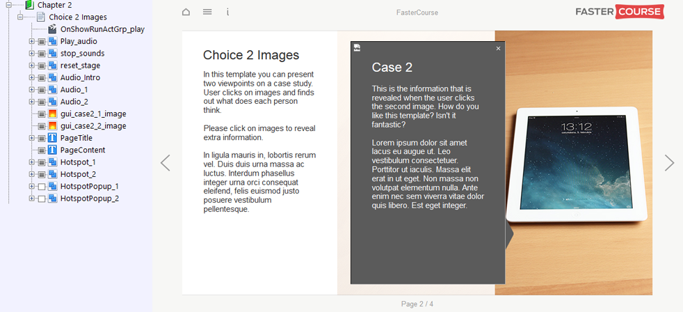 FasterCourse Start Up Template Choice 2 Images page