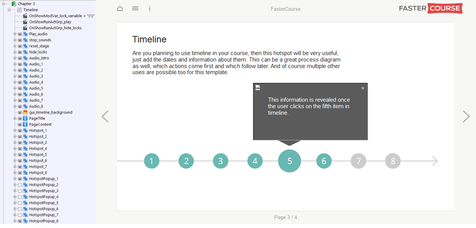 FasterCourse Start Up Template Timeline page