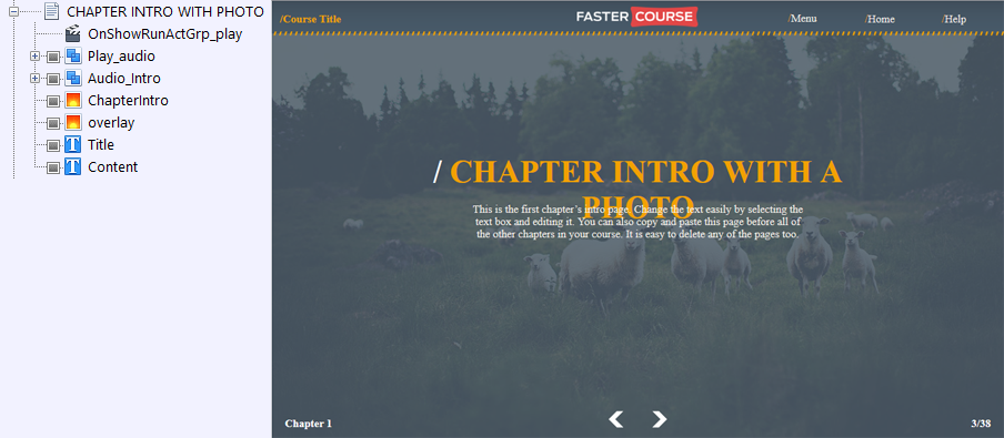 FasterCourse Countryside Template Chapter Intro with Photo page