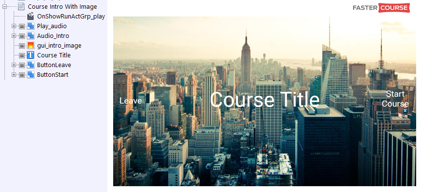 FasterCourse City Template Course Intro with Image page