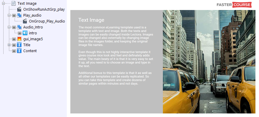 FasterCourse City Template Text Image page