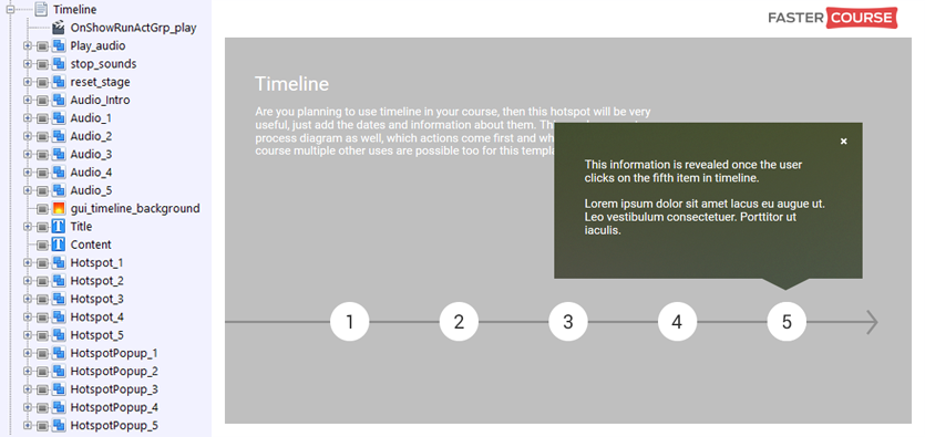 FasterCourse City Template Timeline page