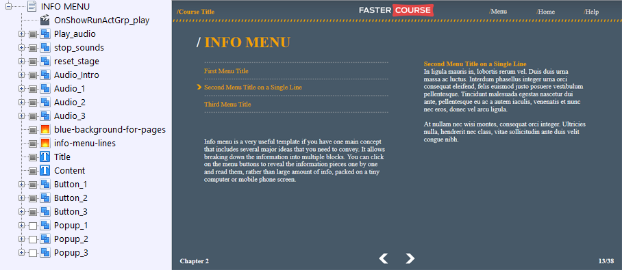 FasterCourse Countryside Template Info Menu page