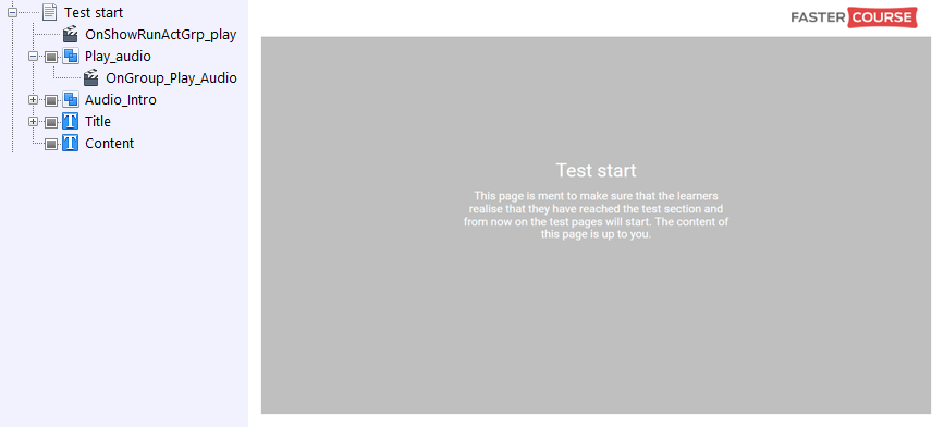 FasterCourse City Template Test Start page