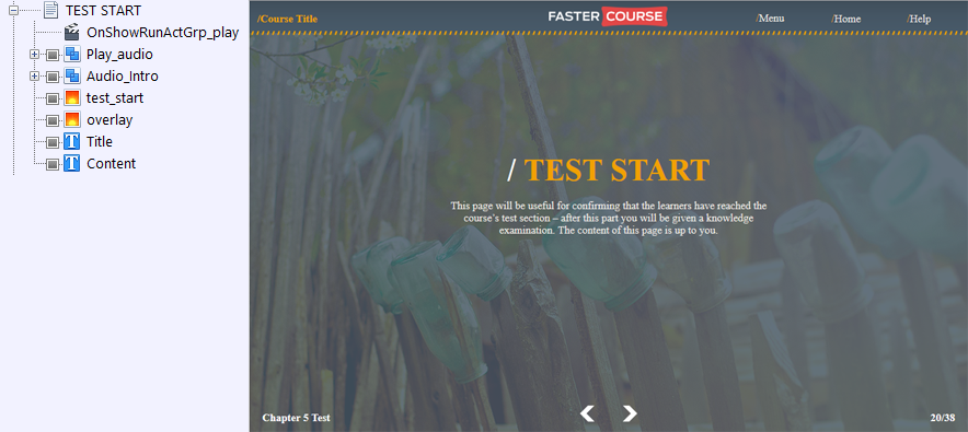 FasterCourse Countryside Template Test Start page
