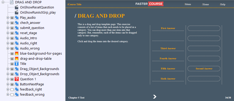 FasterCourse Countryside Template Drag and Drop page