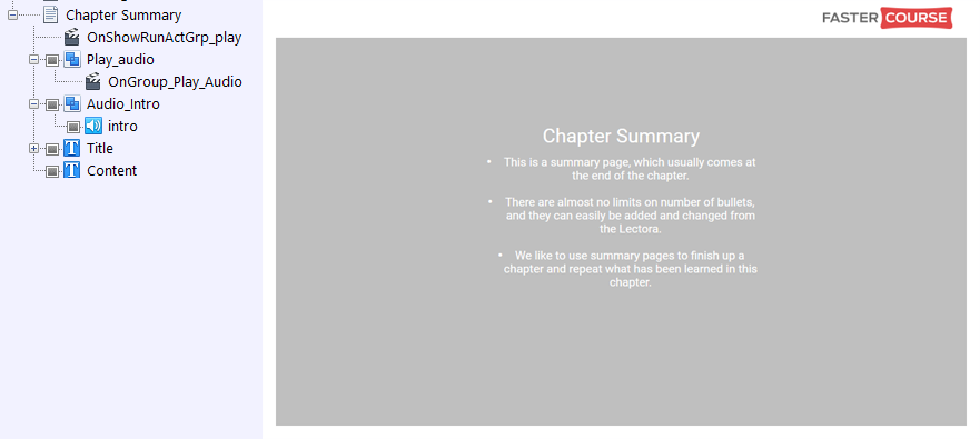 FasterCourse City Template Chapter Summary page