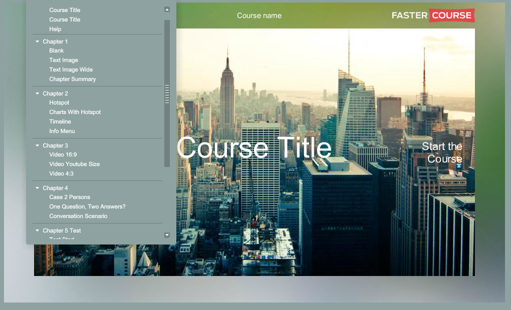 Articulate Storyline City Guide Default Menu Preview