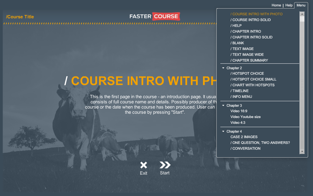 Articulate Storyline Countryside Guide Default Menu Preview