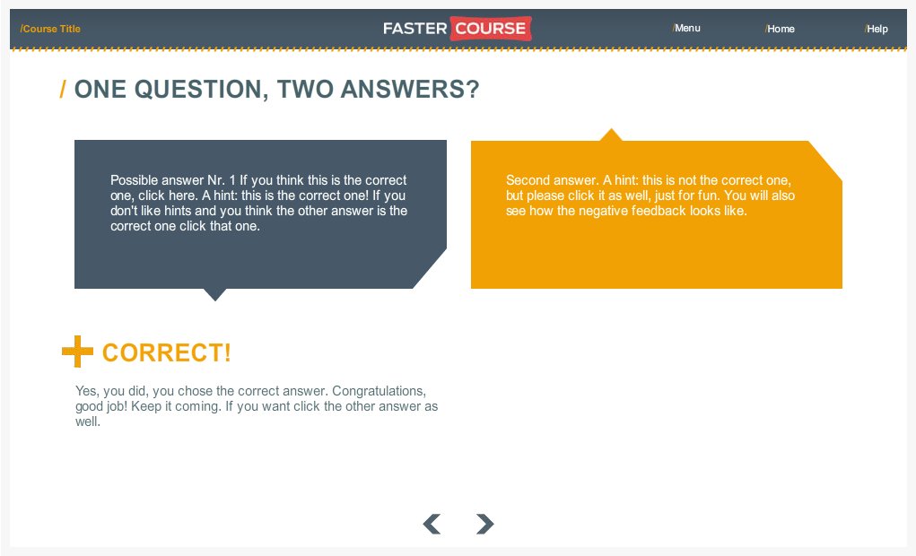 Articulate Storyline Countryside Guide 2Questions 1Answer Preview