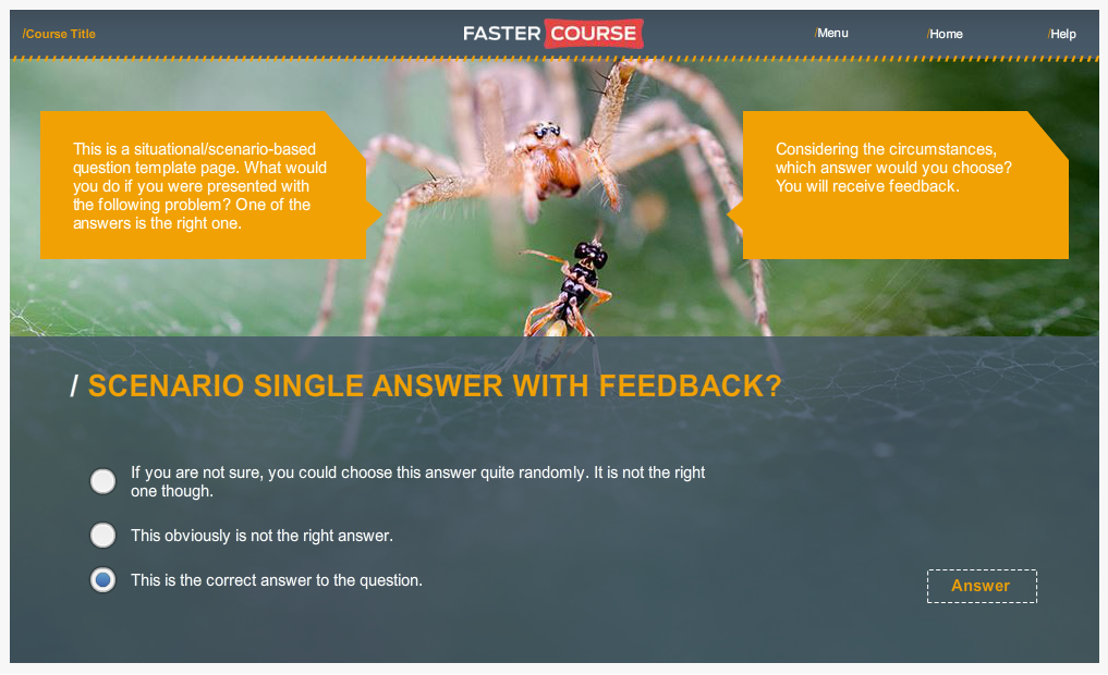Articulate Storyline Countryside Guide Test Scenario Single Answer Preview