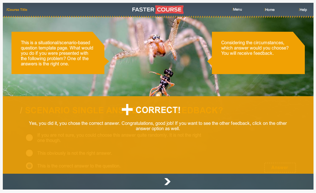 Articulate Storyline Countryside Guide Test Feedback Preview