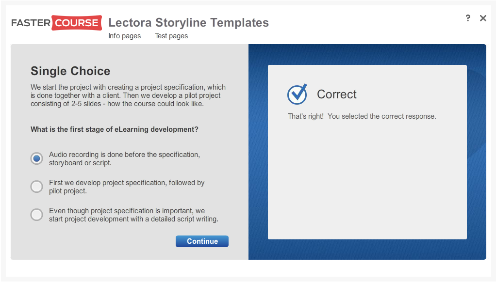 Articulate Storyline Free Guide Test Single Choice Preview