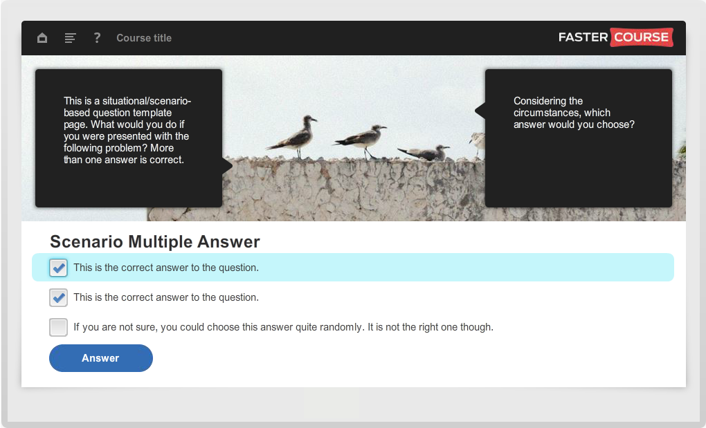 Articulate Storyline Guide Scenario Multiple Answer Preview