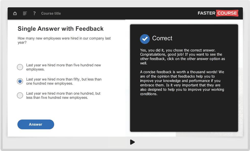 Articulate Storyline Guide Single Answer with Feedback Preview