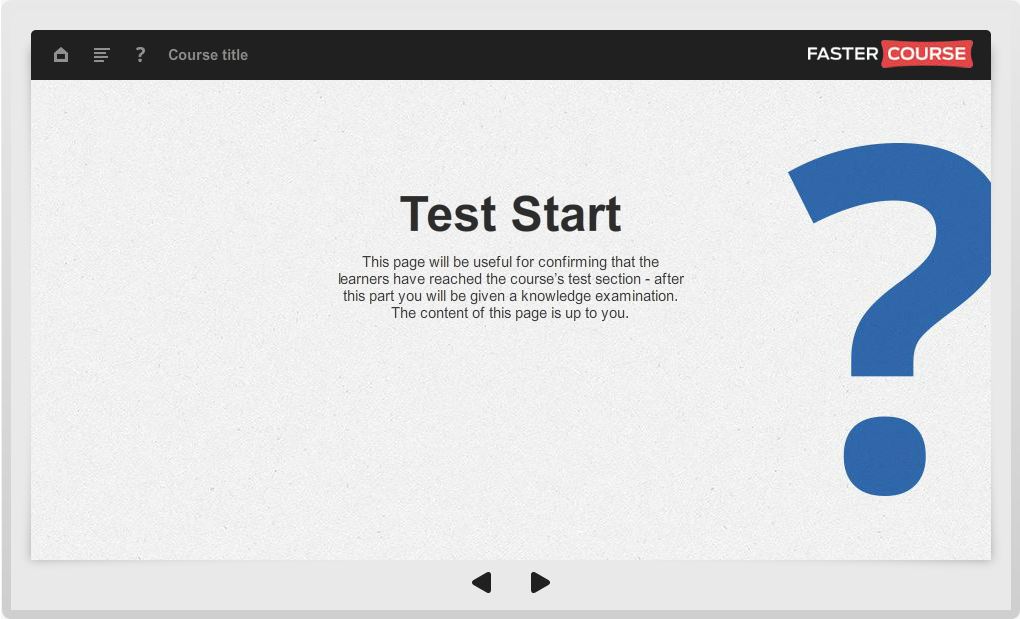 Articulate Storyline Guide Test Start Preview